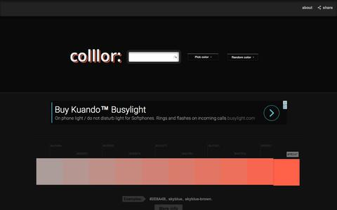 Screenshot of Home Page colllor.com - Color Palette Generator - Colllor - captured June 25, 2017