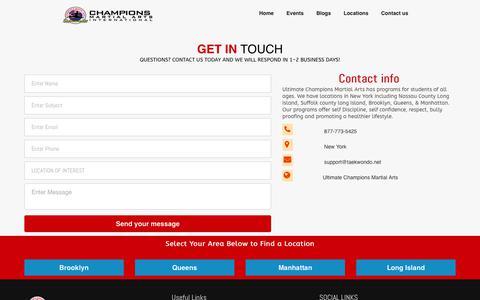 Screenshot of Contact Page taekwondo.net - Ultimate Champions Martial Arts - captured Oct. 21, 2018