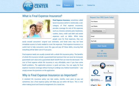 Screenshot of Products Page family-insurance-plans.com - Final Expense Insurance - Family Insurance Plans - captured May 5, 2017
