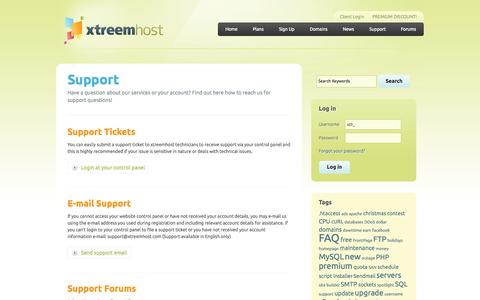 Screenshot of Support Page xtreemhost.com - Support | xtreemhost - captured Sept. 30, 2014