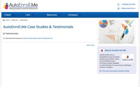 Screenshot of Case Studies Page autoenroll.me - AutoEnroll.Me   Case Studies & Testimonials - captured Feb. 6, 2016
