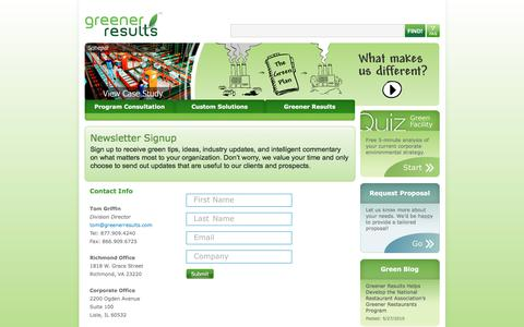 Screenshot of Signup Page greenerresults.com - Greener Results Newsletter Signup - captured July 25, 2018