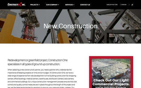 Screenshot of Services Page constructionone.com - New Construction Projects | General Contractor | Columbus | Construction One - captured Aug. 25, 2017