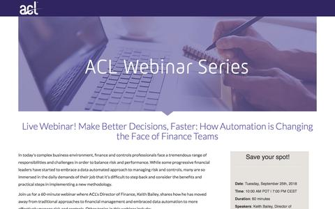 Screenshot of Landing Page acl.com - Make Better Decisions, Faster: How Automation is Changing the Face of Finance Teams - captured Sept. 19, 2018