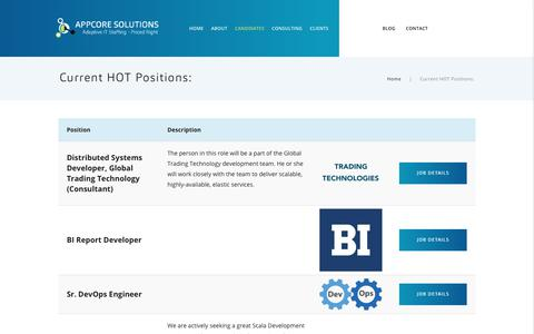 Screenshot of Jobs Page appcoresolutions.com - Current HOT Positions: – AppCore Solutions | Adaptive IT staffing – Priced Right - captured Oct. 8, 2017