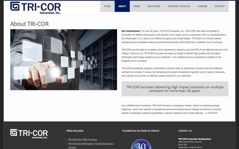 Screenshot of About Page tricorind.com - About TRI-COR | TRI-COR Industries - captured Oct. 9, 2014