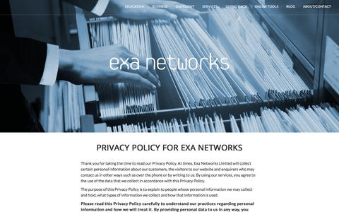 Screenshot of Privacy Page exa.net.uk - Privacy Policy - Exa Networks - captured Feb. 15, 2018