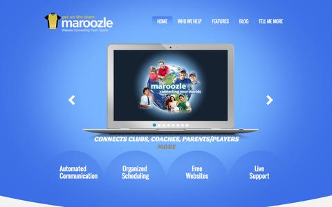 Screenshot of Home Page maroozle.com - Sports Club Management Software for Kids Soccer Team Website & Baseball Leagues | Free Youth Sports Site - captured Oct. 7, 2014