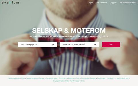 Screenshot of Home Page eventum.no - Eventum � Selskaps- og m�telokaler til alle anledninger - captured Jan. 18, 2016