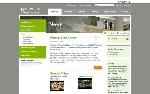 Screenshot of Press Page genzyme.com - Genzyme Corporation Online Newsroom | - captured Sept. 24, 2014