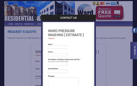 Screenshot of Contact Page wardpressurewashing.com - Request A Quote - Niagara Pressure Washing / Power Washing - captured Dec. 12, 2016