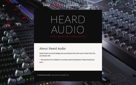 Screenshot of About Page heardaudio.com - About — Heard Audio - captured Jan. 27, 2016