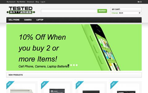 Screenshot of Home Page testedbatteries.com - Cell Phone, Camera and Laptop batteries - Testedbatteries.com - captured Sept. 30, 2014