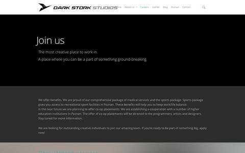 Screenshot of Jobs Page darkstork.com - Dark Stork Studios    Careers - captured Oct. 5, 2014