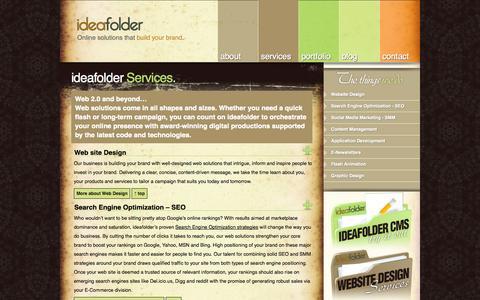 Screenshot of Services Page ideafolder.com - Services - captured Sept. 30, 2014