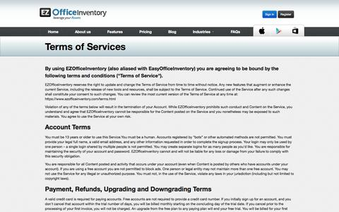 Screenshot of Terms Page ezofficeinventory.com - Asset Tracking and Inventory Management - EZOfficeInventory - captured Oct. 27, 2014
