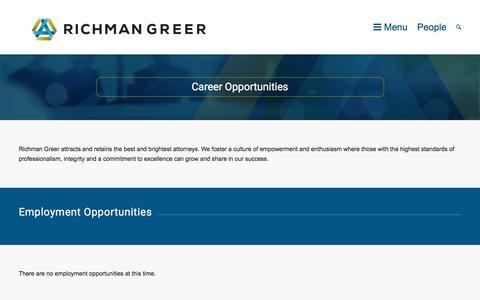 Screenshot of Jobs Page richmangreer.com - Careers - Richman Greer - captured Nov. 30, 2016