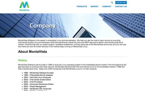 Screenshot of About Page mvista.com - MontaVista Software is the leader in Embedded Linux commercialization - captured July 12, 2018