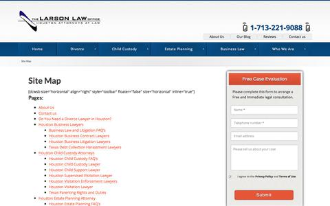 Screenshot of Site Map Page thelarsonlawoffice.com - Site Map - Houston Divorce Lawyers - captured Oct. 22, 2017