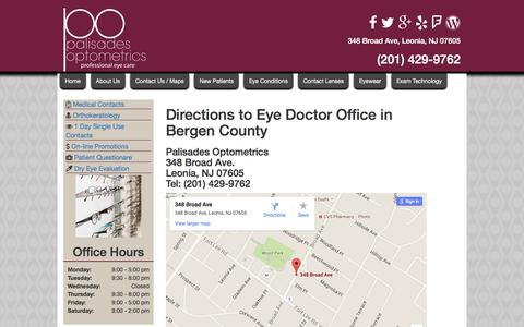 Screenshot of Maps & Directions Page eyepalnj.com - Directions to Palisades Optometrics   Directions to Optometrist near Fort Lee   Ridgefield Park Eye Doctor Directions - captured Jan. 24, 2016