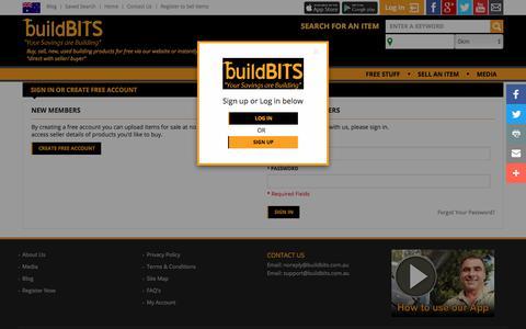 Screenshot of Login Page buildbits.com.au - Customer Login - captured Sept. 24, 2018