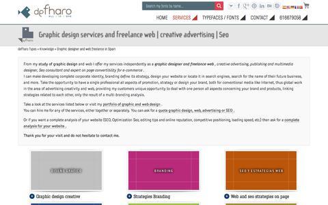 Screenshot of Services Page defharo.com - Freelance graphic design services and web.  Seo & e-commerce - captured Sept. 22, 2018