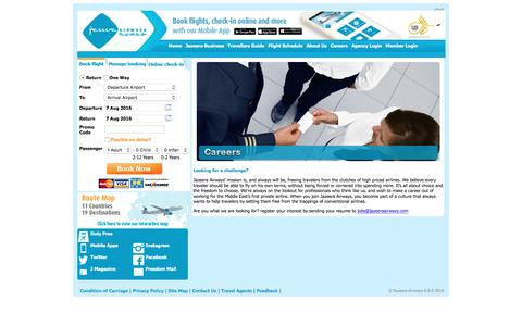 Screenshot of Jobs Page jazeeraairways.com - Fly more. Do more - Jazeera Airways - captured Aug. 7, 2016