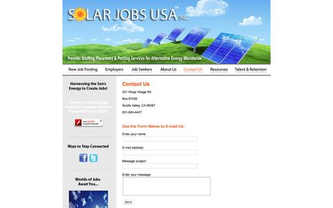 Screenshot of Contact Page solarjobsusa.com - Solar Jobs USA :: Contact Us - captured Jan. 11, 2016