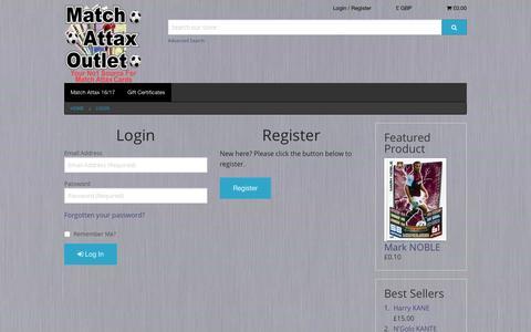 Screenshot of Login Page matchattaxoutlet.co.uk - Match Attax Outlet - captured April 9, 2017