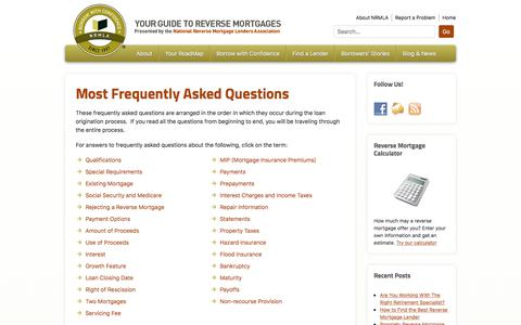 Screenshot of FAQ Page reversemortgage.org - Most Frequently Asked Questions - Reverse Mortgage - captured Jan. 5, 2020