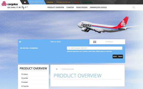 Screenshot of Products Page cargolux.com - Product Overview          - Cargolux - captured Sept. 27, 2018