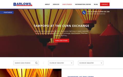 Screenshot of Case Studies Page barlows-electrical.com - Case Studies | Barlows - captured Dec. 30, 2015