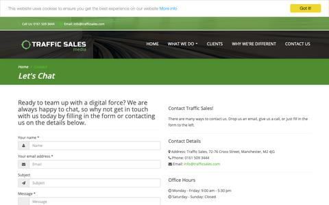 Screenshot of Contact Page trafficsales.com - Traffics Sale | PPC and Media Buying - captured Oct. 19, 2018