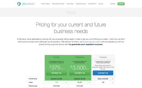 Screenshot of Pricing Page skuvault.com - SkuVault Warehouse Management System · Pricing - captured May 11, 2018