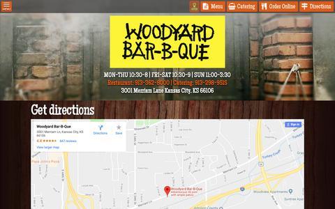 Screenshot of Maps & Directions Page woodyardbbq.com - Get Directions - Woodyard BBQ - captured Oct. 18, 2018
