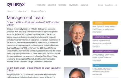 Screenshot of Team Page synopsys.com - Management Team - captured Feb. 27, 2017