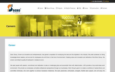 Screenshot of Jobs Page sohogroup.in - Soho Group   Career - captured Nov. 16, 2016