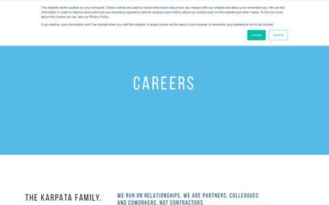 Screenshot of Jobs Page karpata.com - Careers – Karpata   IN STORE SERVICE - captured Dec. 20, 2018