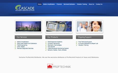 Screenshot of Home Page cascademvs.com - Vibration Analysis and Motion Amplification - Cascade MVS - captured May 14, 2017