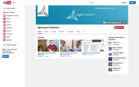 Screenshot of YouTube Page youtube.com - Agencyport Software  - YouTube - captured Oct. 22, 2014