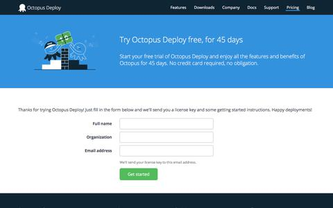 Screenshot of Trial Page octopus.com - Trial License - Octopus Deploy - captured Oct. 19, 2017