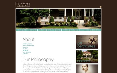 Screenshot of About Page havenrhinebeck.com - Haven Spa | About - captured Sept. 27, 2018