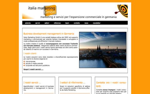 Screenshot of Home Page italia-marketing.com - Italia Marketing GmbH - Marketing e Business Development in Germania - captured Oct. 6, 2014