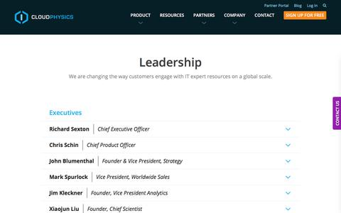 Screenshot of Team Page cloudphysics.com - Leadership | CloudPhysics - captured Aug. 31, 2017