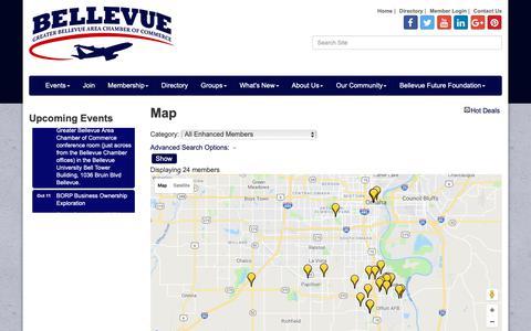 Screenshot of Maps & Directions Page bellevuenebraska.com - Map - Greater Bellevue Area Chamber of Commerce, NE - captured Oct. 5, 2018