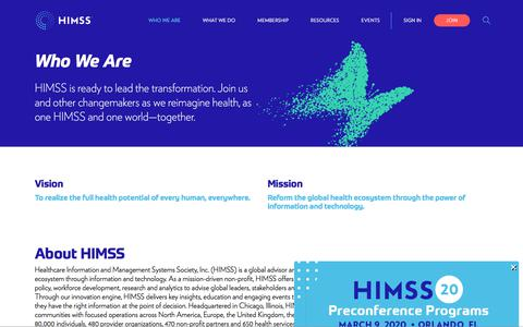 Screenshot of About Page himss.org - Who we are   HIMSS - captured Feb. 17, 2020
