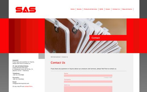 Screenshot of Contact Page sasinternasional.com - Contact Us | SAS International - captured Oct. 1, 2014