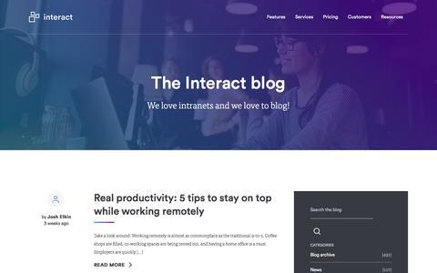 Screenshot of Blog interact-intranet.com - Blog | Interact software - captured Feb. 27, 2018