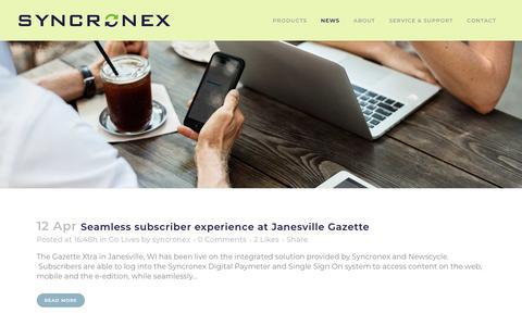 Screenshot of Press Page syncronex.com - News - Syncronex - captured July 13, 2018