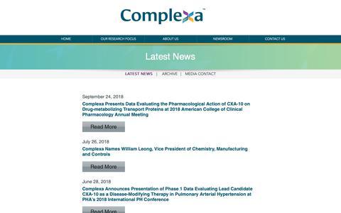 Screenshot of Press Page complexarx.com - Latest News   Complexa - captured Oct. 19, 2018